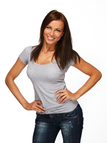 Young positive brunette girl with long hair wearing t-shirt and jeans